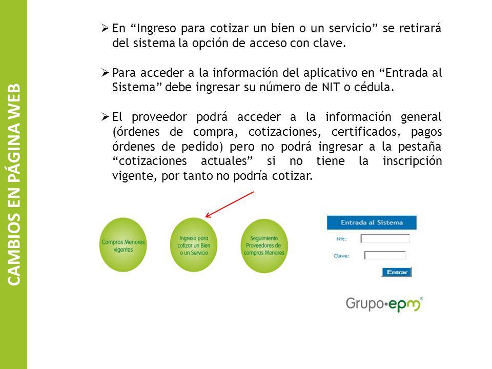 En Ingreso para cotizar un bien o un servicio se retirará del sistema la opción de acceso con clave.