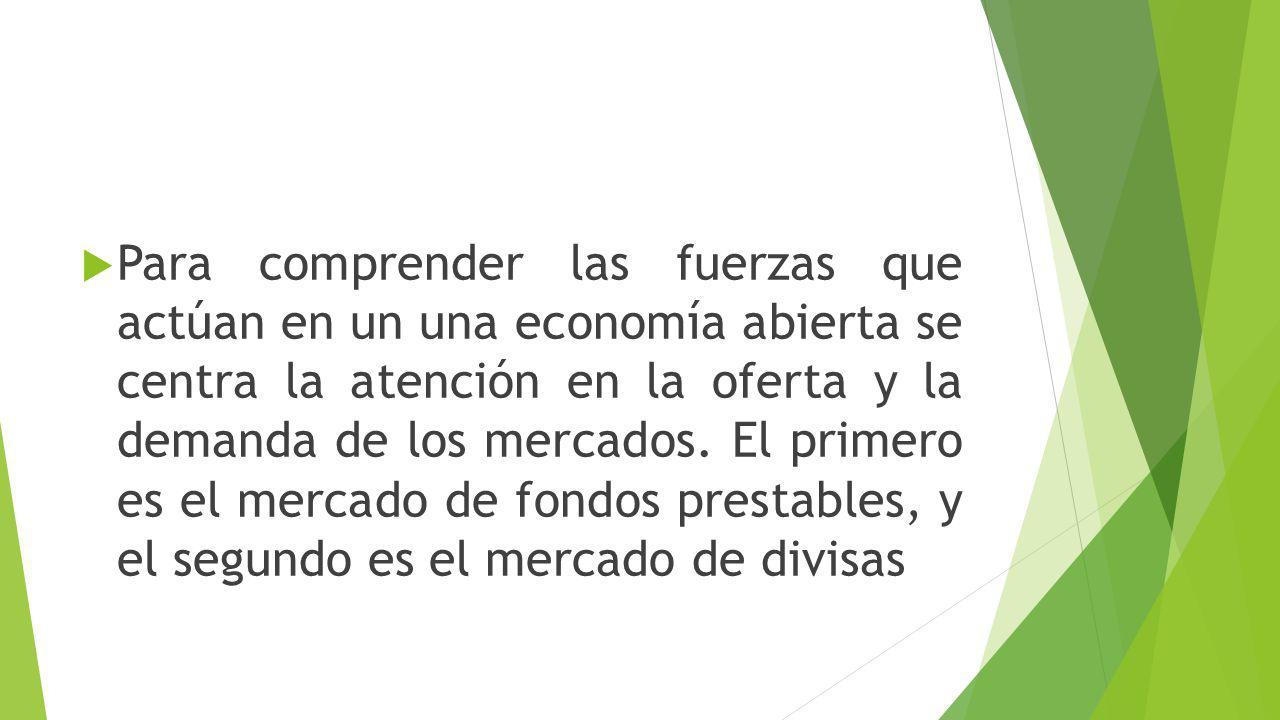 Para comprender las fuerzas que actúan en un una economía abierta se centra la atención en la oferta y la demanda de los mercados.