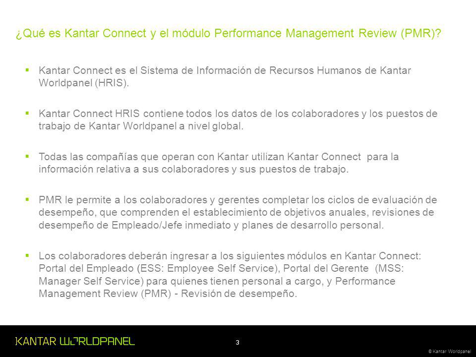 ¿Qué es Kantar Connect y el módulo Performance Management Review (PMR)