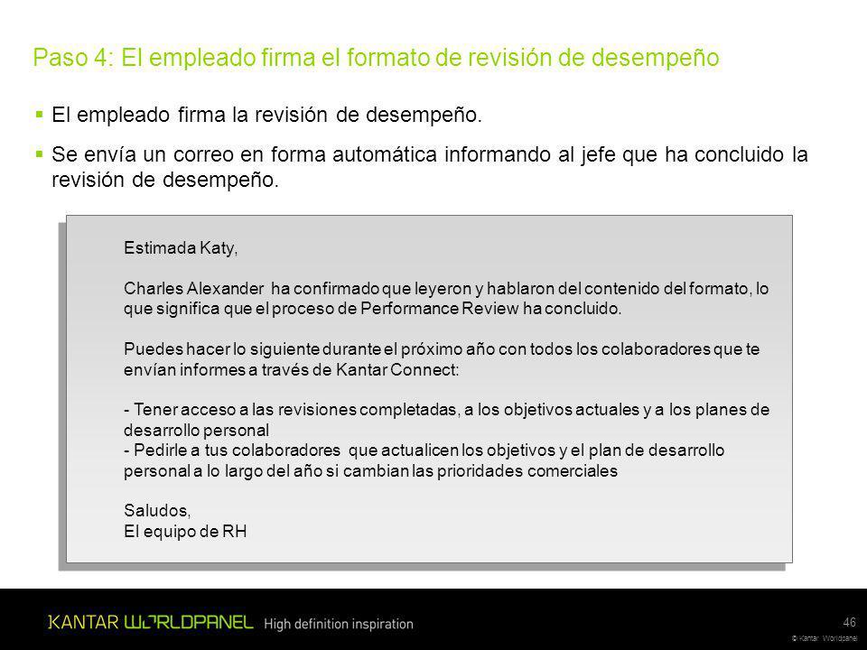 Paso 4: El empleado firma el formato de revisión de desempeño