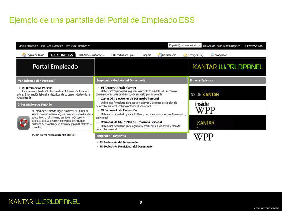 Ejemplo de una pantalla del Portal de Empleado ESS