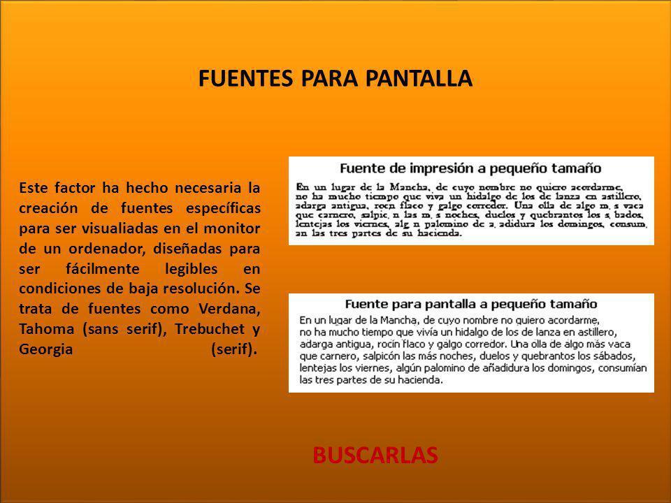TIPOGRAFÍA FUENTES PARA PANTALLA BUSCARLAS