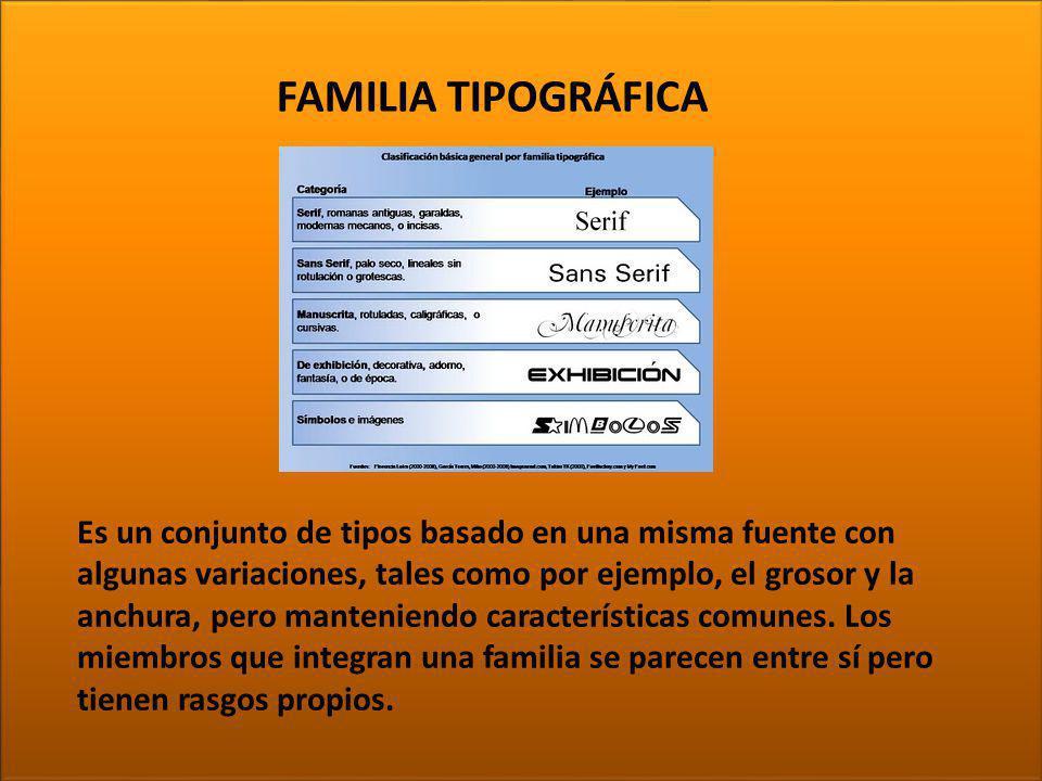 TIPOGRAFÍA FAMILIA TIPOGRÁFICA
