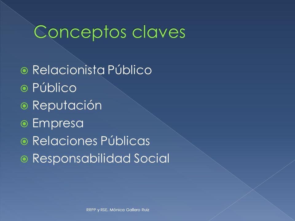 Conceptos claves Relacionista Público Público Reputación Empresa