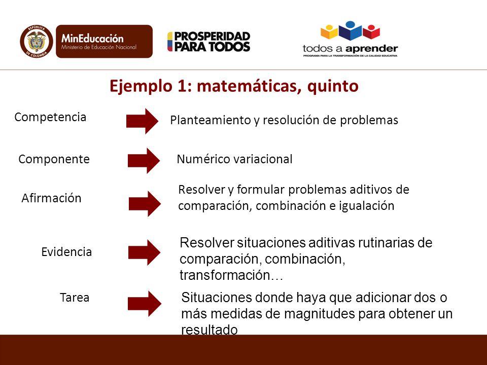 Ejemplo 1: matemáticas, quinto