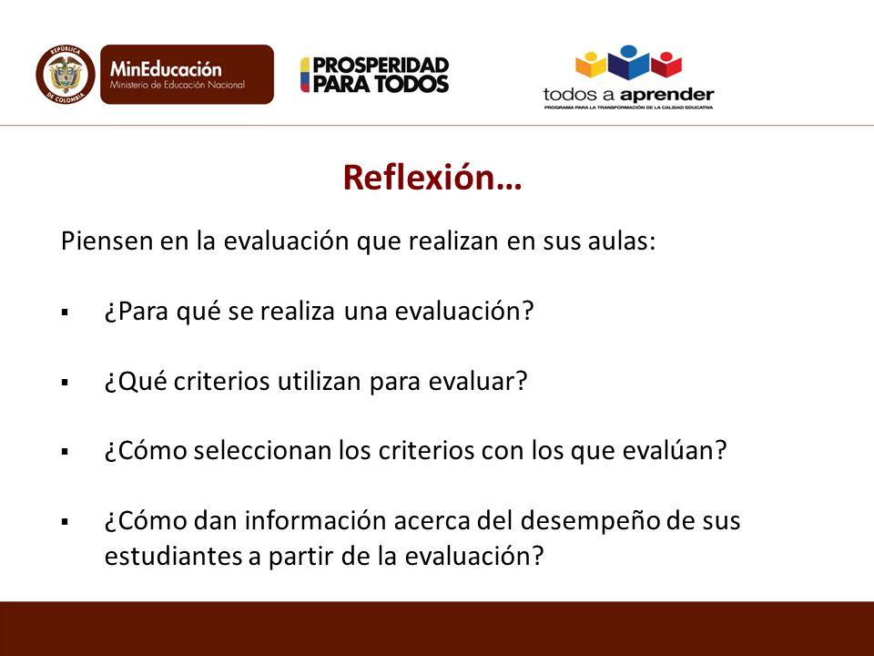 Reflexión… Piensen en la evaluación que realizan en sus aulas: