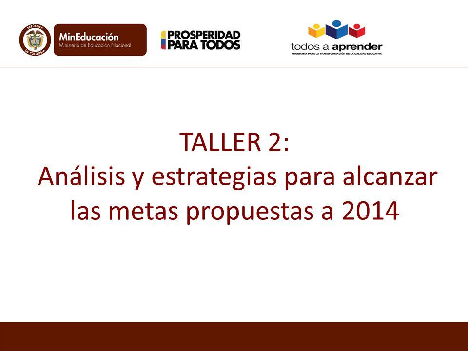 TALLER 2: Análisis y estrategias para alcanzar las metas propuestas a 2014