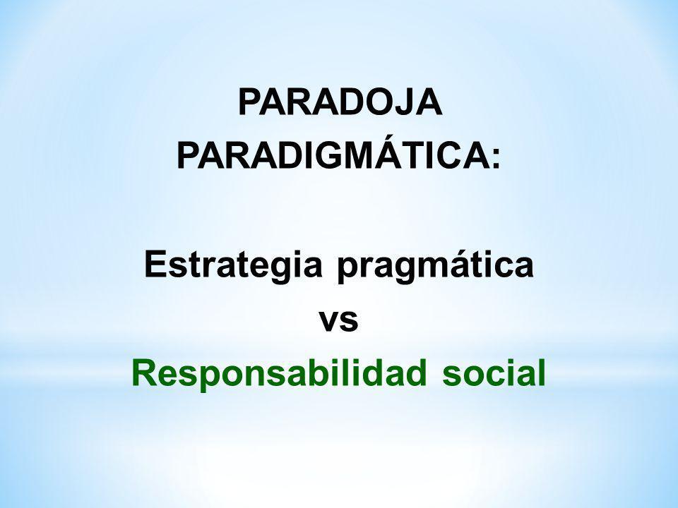 PARADOJA PARADIGMÁTICA: Estrategia pragmática Responsabilidad social