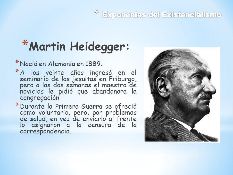 Martin Heidegger: Exponentes del Existencialismo