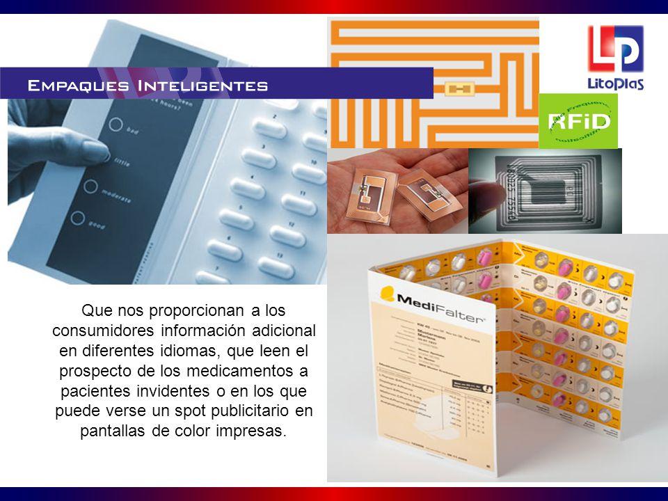 Que nos proporcionan a los consumidores información adicional en diferentes idiomas, que leen el prospecto de los medicamentos a pacientes invidentes o en los que puede verse un spot publicitario en pantallas de color impresas.