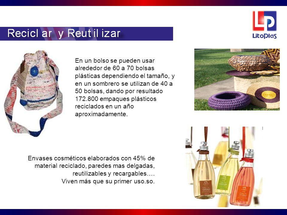 En un bolso se pueden usar alrededor de 60 a 70 bolsas plásticas dependiendo el tamaño, y en un sombrero se utilizan de 40 a 50 bolsas, dando por resultado 172.800 empaques plásticos reciclados en un año aproximadamente.