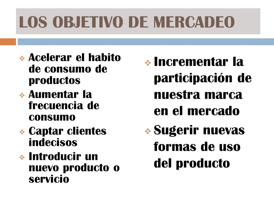 LOS OBJETIVO DE MERCADEO