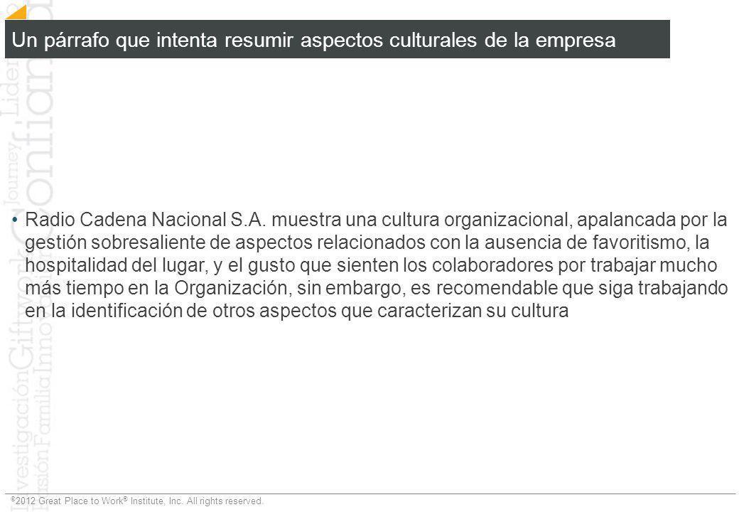 Un párrafo que intenta resumir aspectos culturales de la empresa