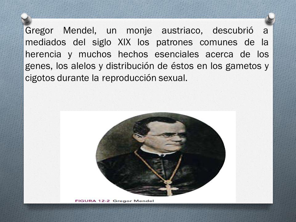 Gregor Mendel, un monje austriaco, descubrió a mediados del siglo XIX los patrones comunes de la herencia y muchos hechos esenciales acerca de los genes, los alelos y distribución de éstos en los gametos y cigotos durante la reproducción sexual.