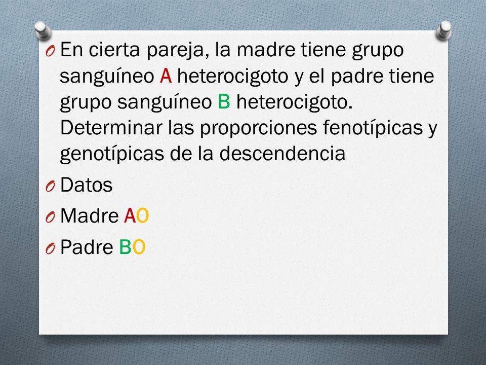 En cierta pareja, la madre tiene grupo sanguíneo A heterocigoto y el padre tiene grupo sanguíneo B heterocigoto. Determinar las proporciones fenotípicas y genotípicas de la descendencia