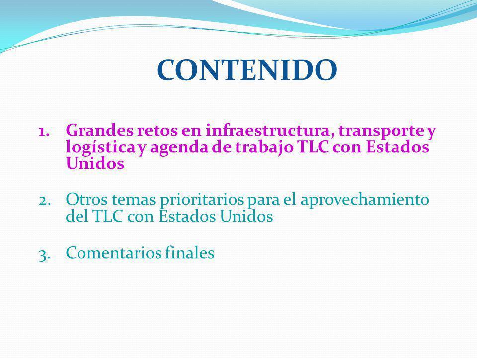 Contenido Grandes retos en infraestructura, transporte y logística y agenda de trabajo TLC con Estados Unidos.