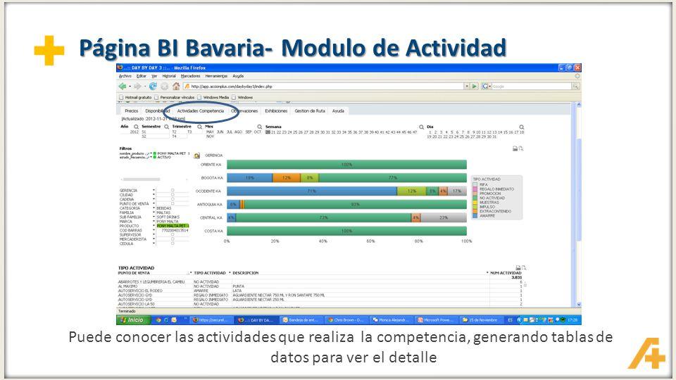 Página BI Bavaria- Modulo de Actividad