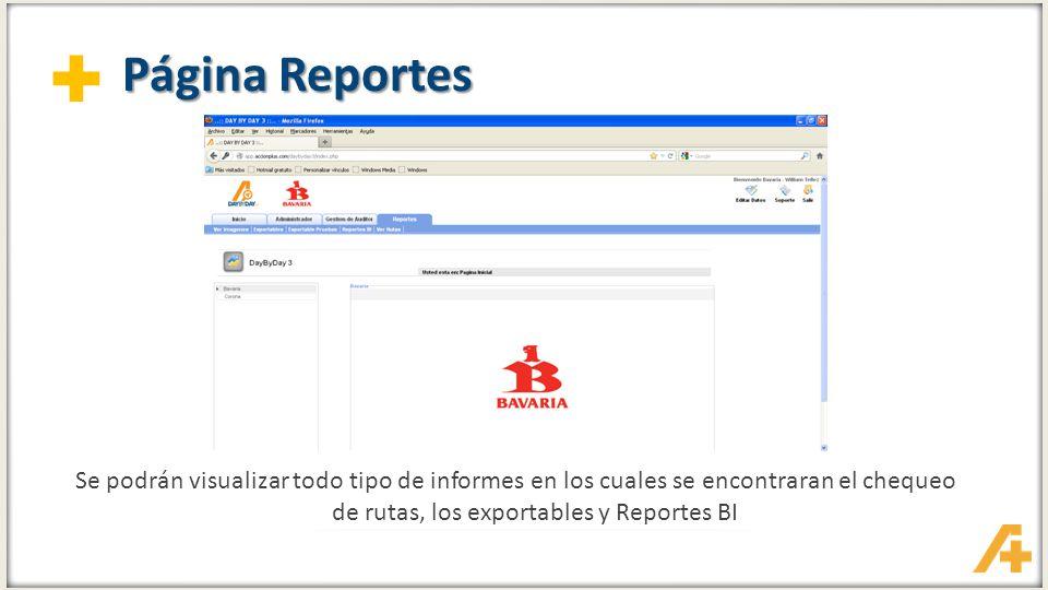 Página Reportes Se podrán visualizar todo tipo de informes en los cuales se encontraran el chequeo de rutas, los exportables y Reportes BI.