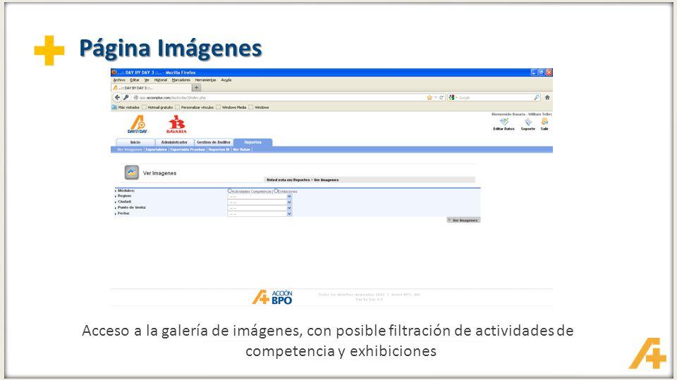 Página Imágenes Acceso a la galería de imágenes, con posible filtración de actividades de competencia y exhibiciones.