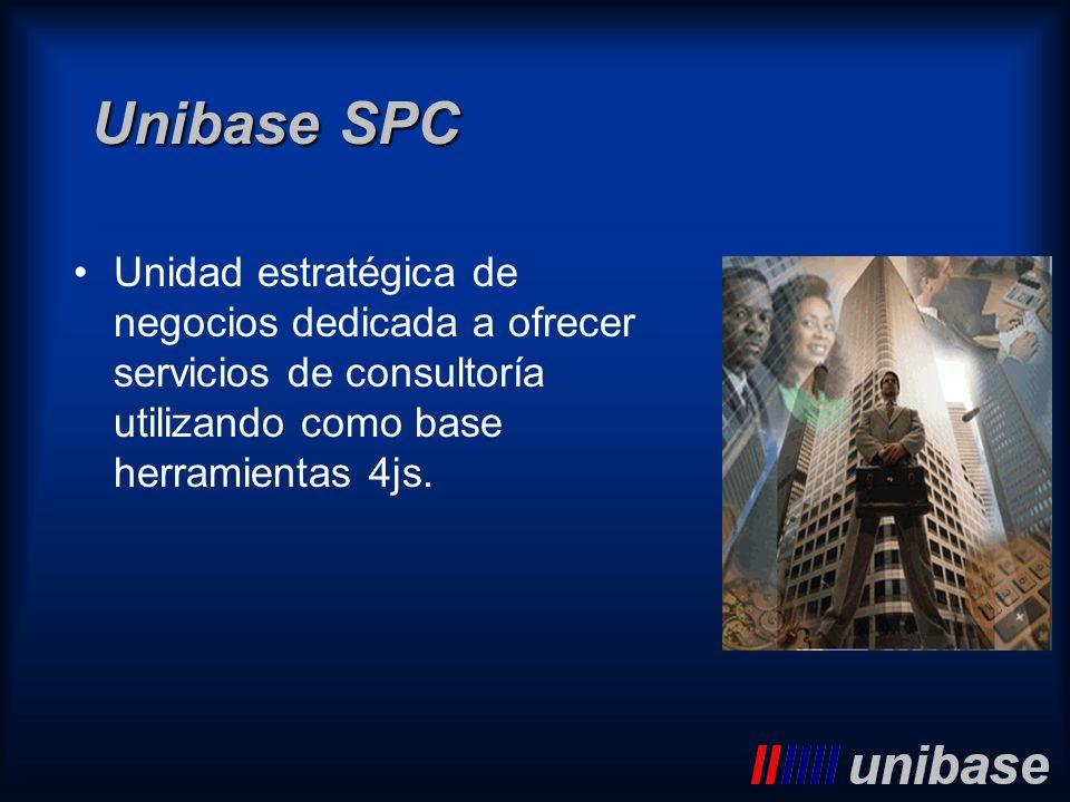 Unibase SPCUnidad estratégica de negocios dedicada a ofrecer servicios de consultoría utilizando como base herramientas 4js.