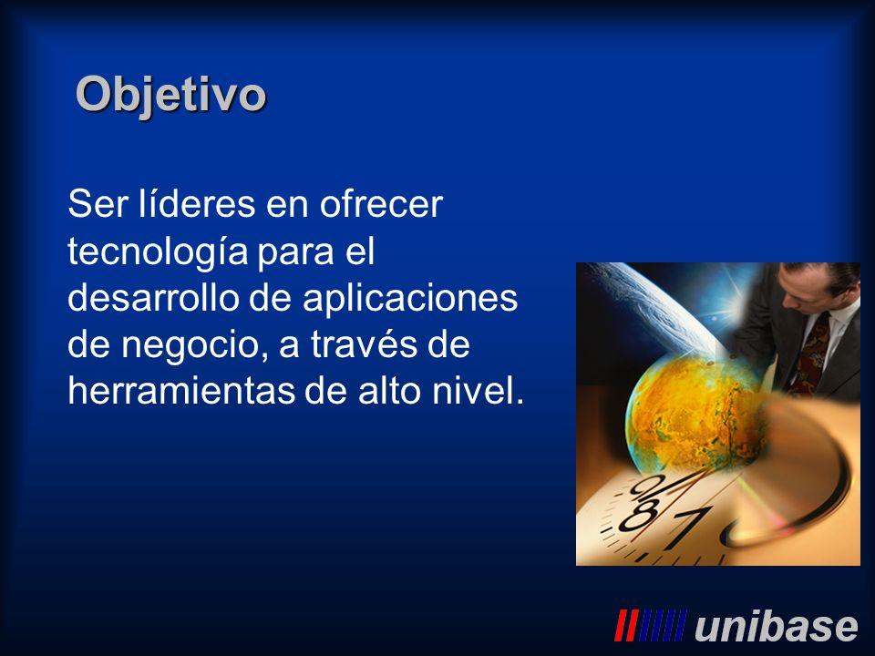 ObjetivoSer líderes en ofrecer tecnología para el desarrollo de aplicaciones de negocio, a través de herramientas de alto nivel.