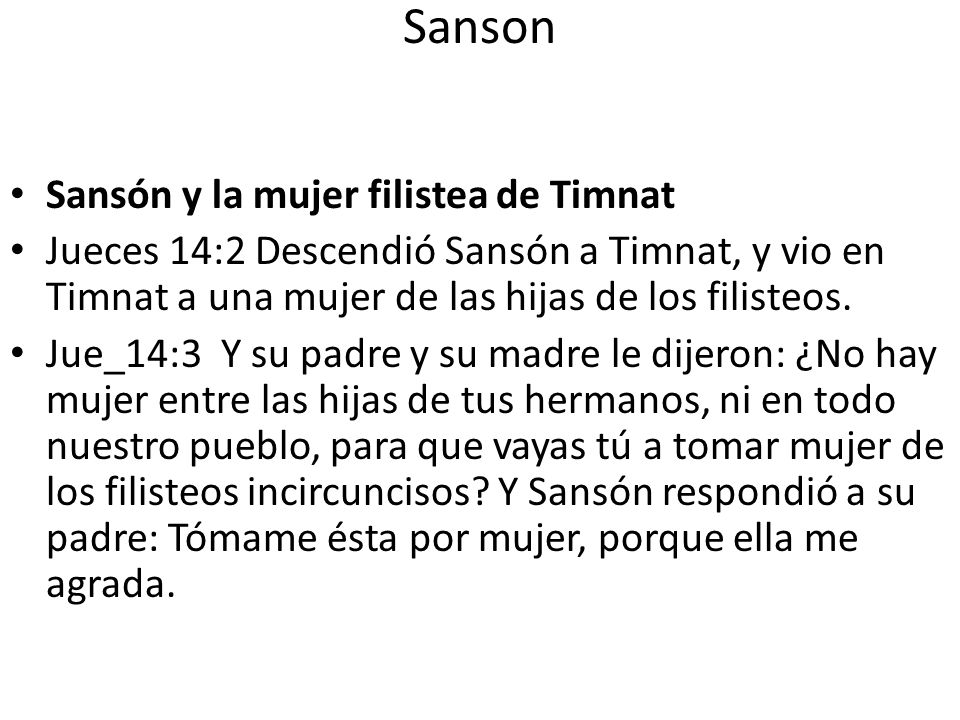Sanson Sansón y la mujer filistea de Timnat