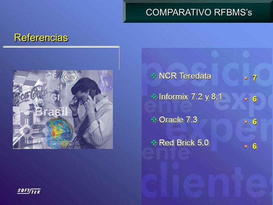 Referencias COMPARATIVO RFBMS's NCR Teredata Informix 7.2 y 8.1