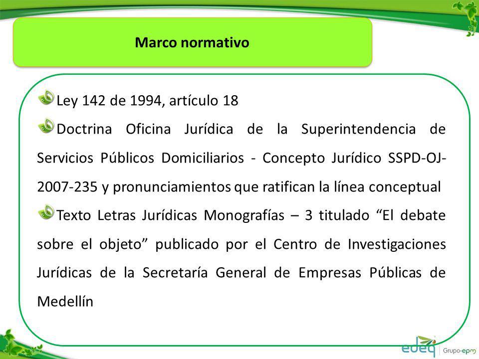 Marco normativo Ley 142 de 1994, artículo 18.