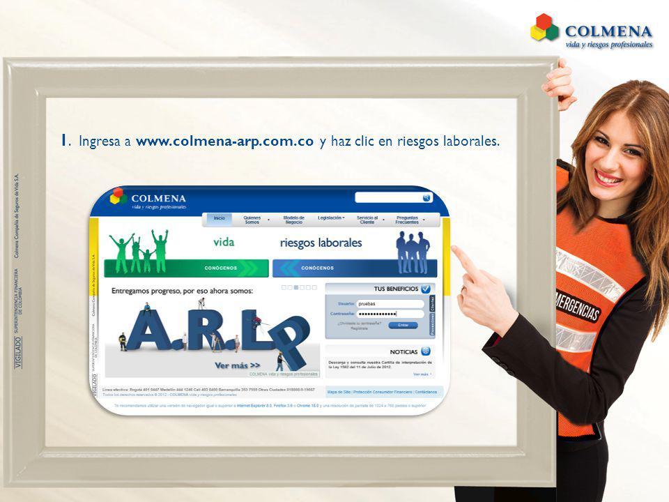 1. Ingresa a www.colmena-arp.com.co y haz clic en riesgos laborales.