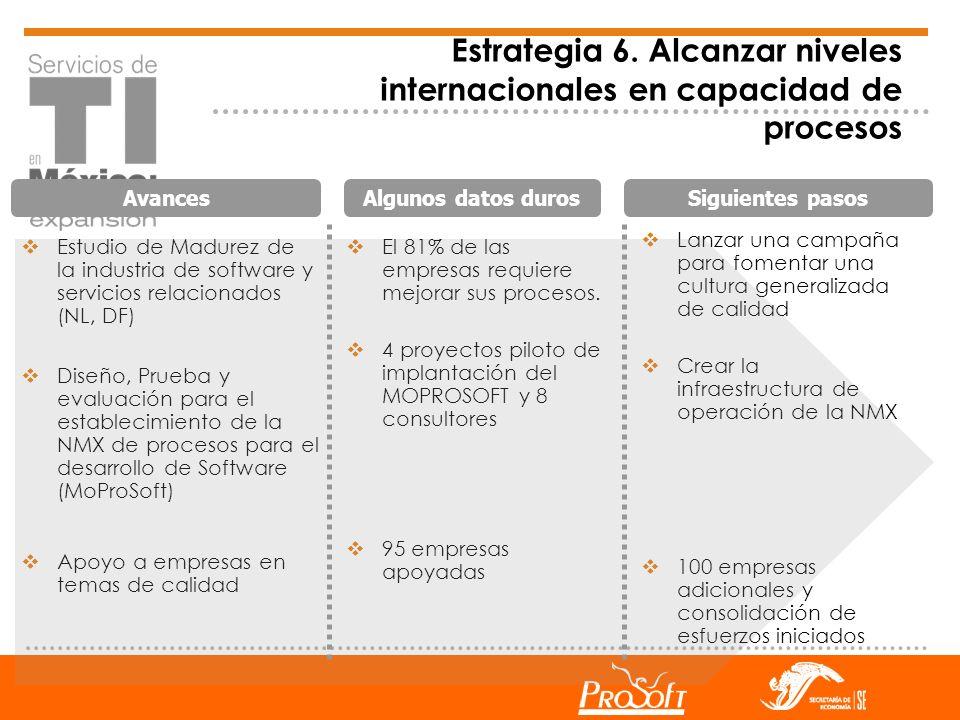 Estrategia 6. Alcanzar niveles internacionales en capacidad de procesos