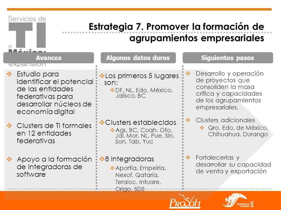Estrategia 7. Promover la formación de agrupamientos empresariales
