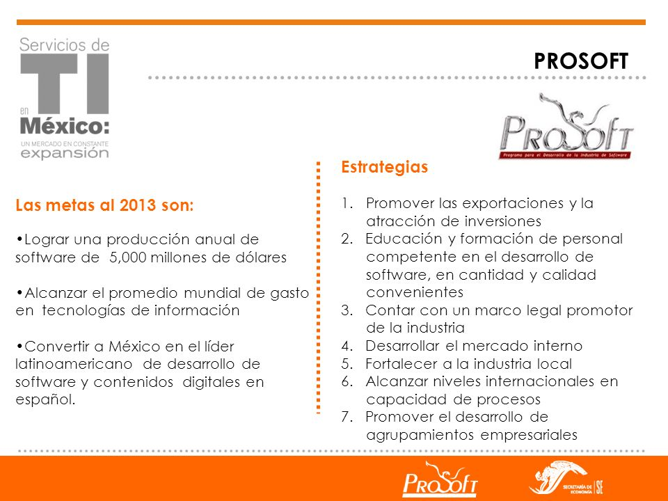 PROSOFT Estrategias Las metas al 2013 son:
