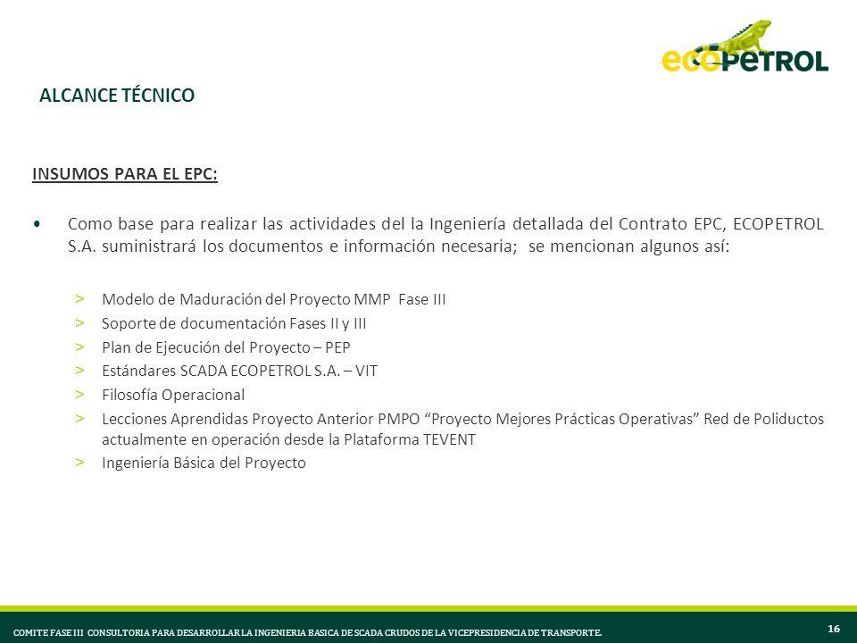 ALCANCE TÉCNICO INSUMOS PARA EL EPC: