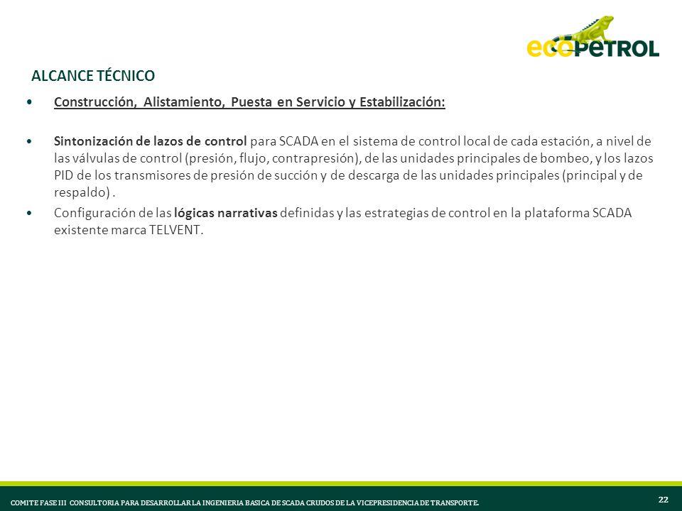ALCANCE TÉCNICO Construcción, Alistamiento, Puesta en Servicio y Estabilización: