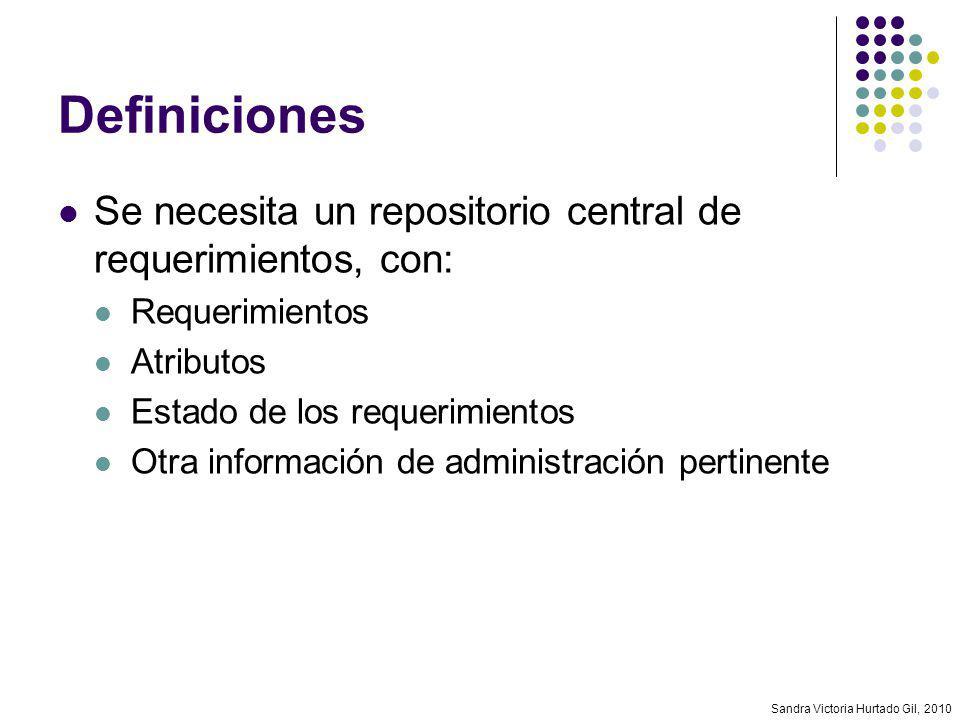 Definiciones Se necesita un repositorio central de requerimientos, con: Requerimientos. Atributos.