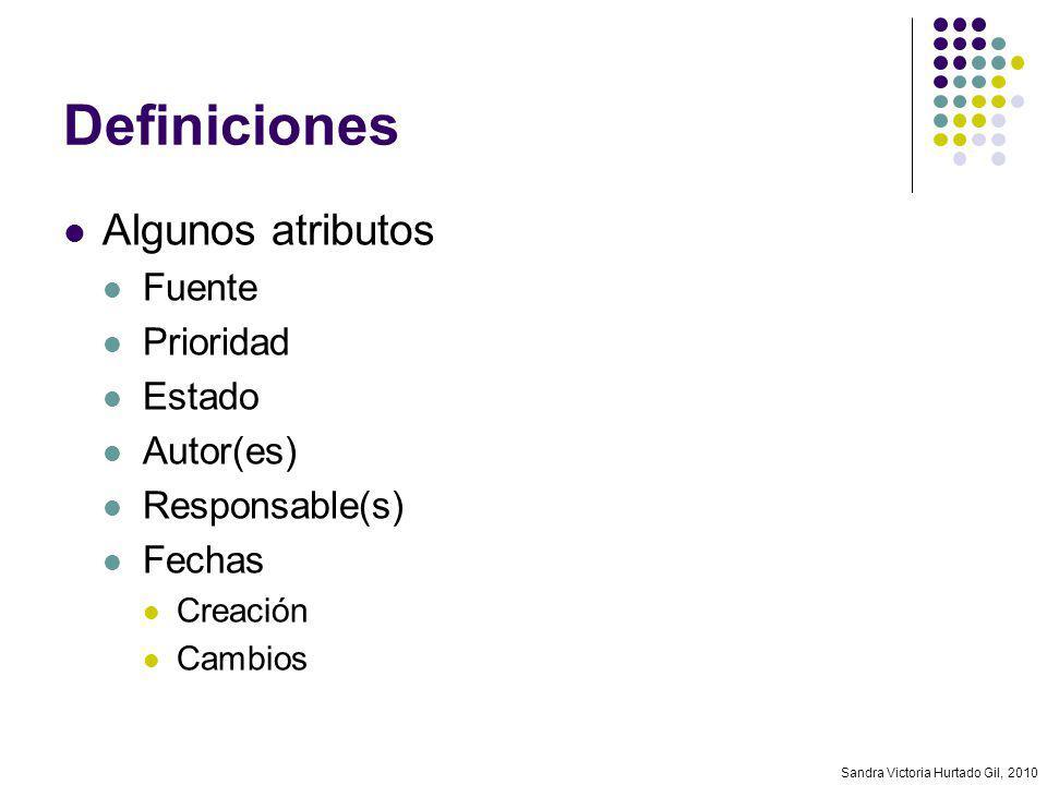 Definiciones Algunos atributos Fuente Prioridad Estado Autor(es)