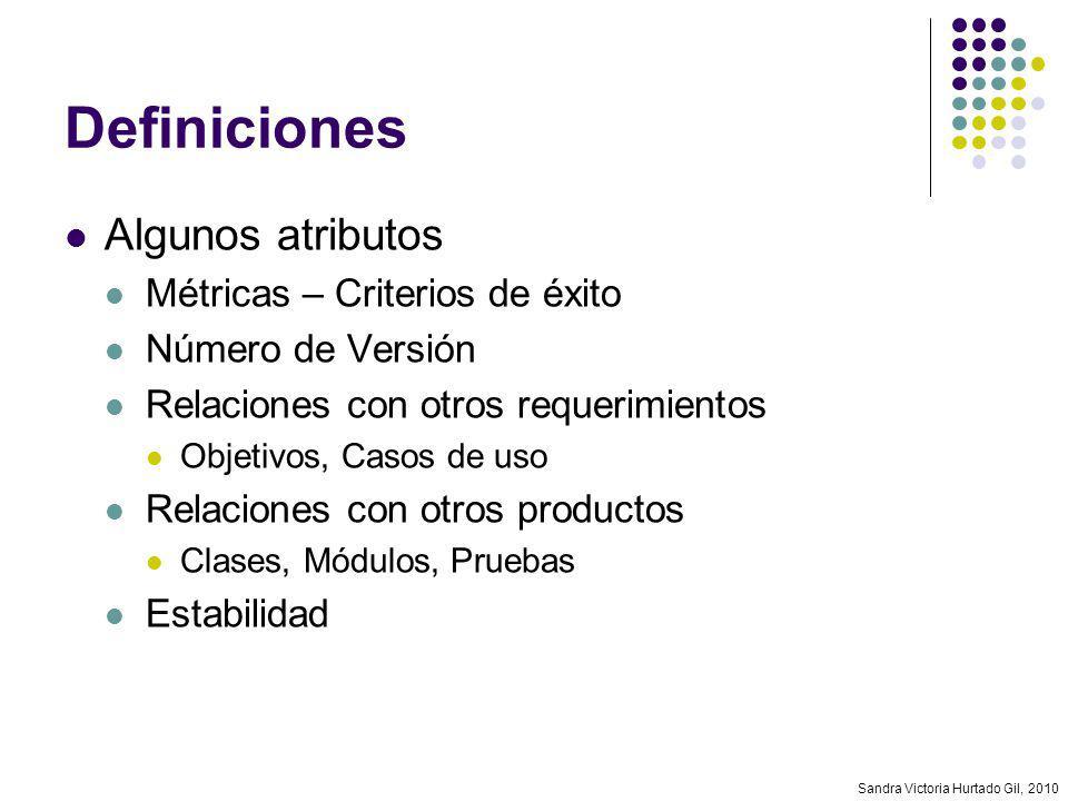 Definiciones Algunos atributos Métricas – Criterios de éxito