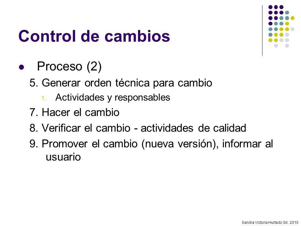 Control de cambios Proceso (2) 5. Generar orden técnica para cambio