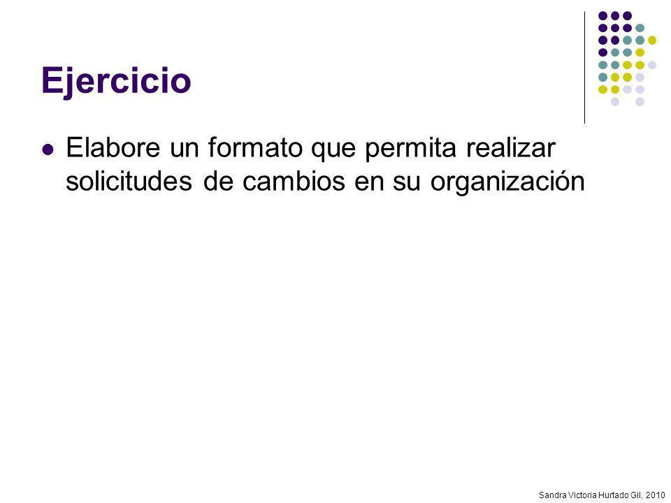 Ejercicio Elabore un formato que permita realizar solicitudes de cambios en su organización