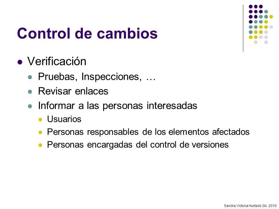 Control de cambios Verificación Pruebas, Inspecciones, …