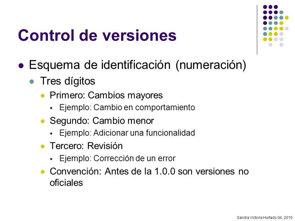 Control de versiones Esquema de identificación (numeración)