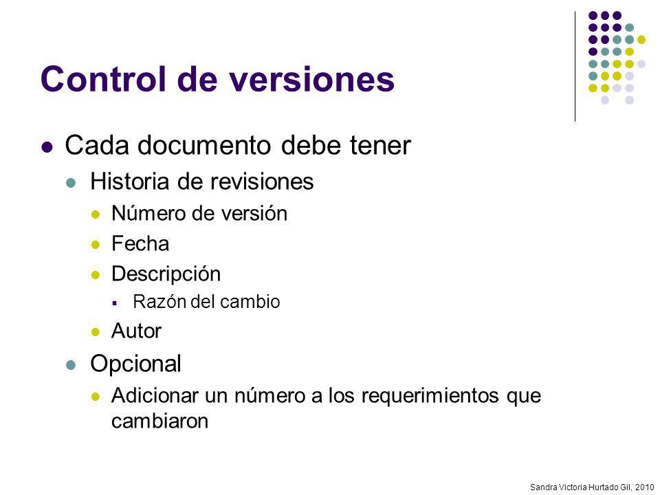 Control de versiones Cada documento debe tener Historia de revisiones