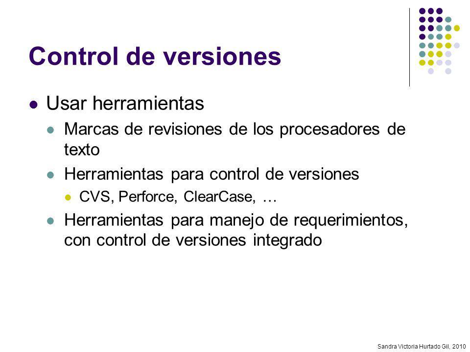 Control de versiones Usar herramientas