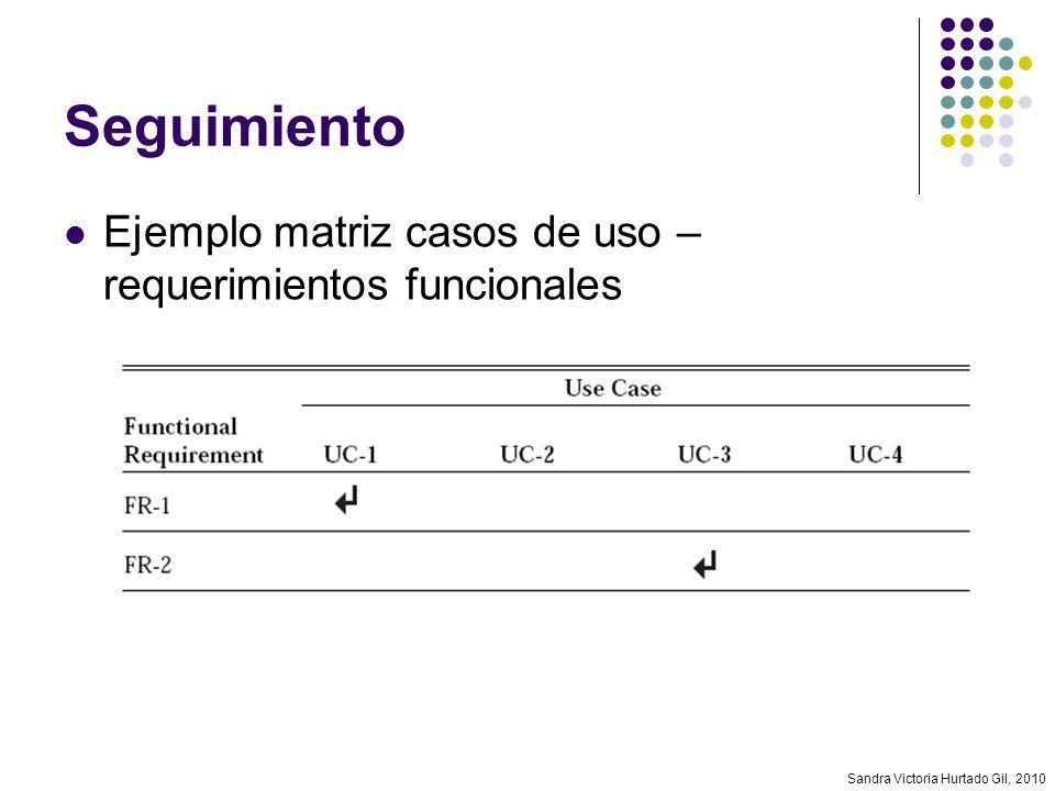 Seguimiento Ejemplo matriz casos de uso – requerimientos funcionales