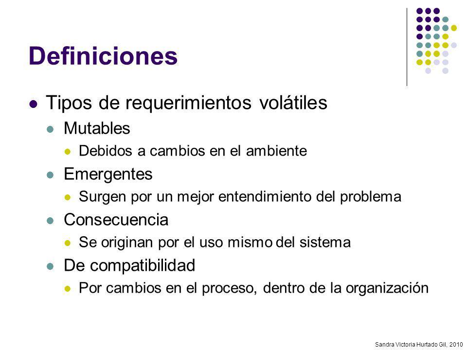 Definiciones Tipos de requerimientos volátiles Mutables Emergentes
