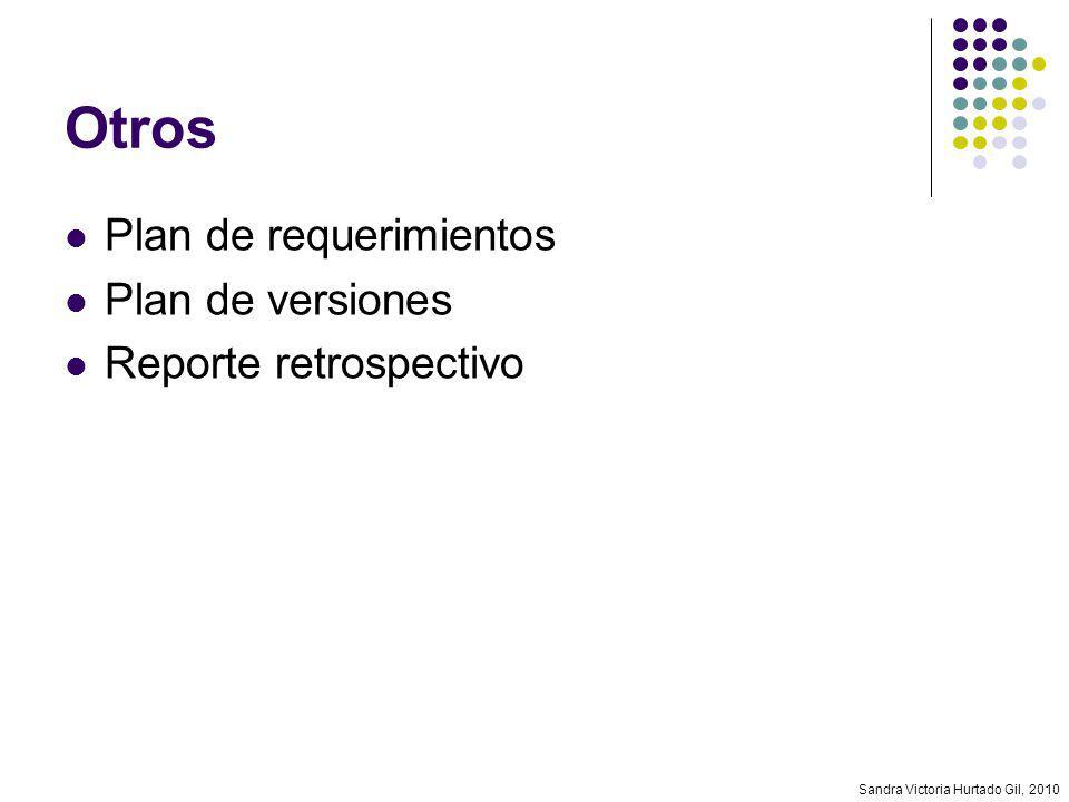 Otros Plan de requerimientos Plan de versiones Reporte retrospectivo