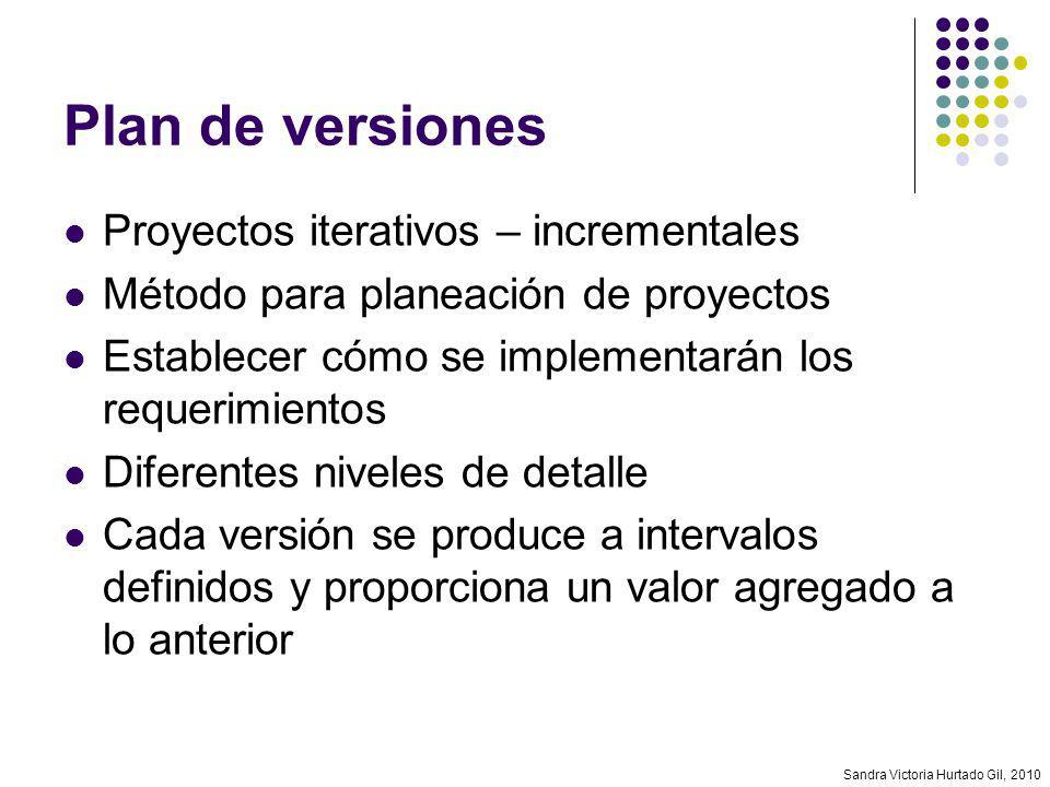 Plan de versiones Proyectos iterativos – incrementales