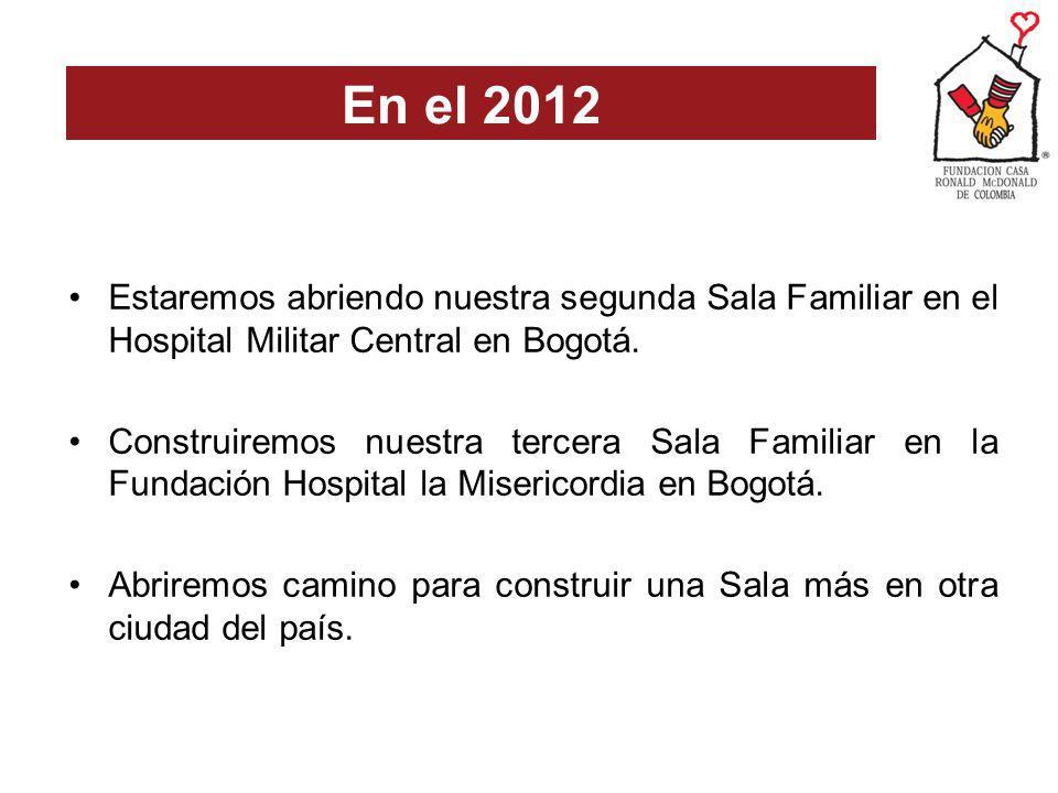 En el 2012 Estaremos abriendo nuestra segunda Sala Familiar en el Hospital Militar Central en Bogotá.