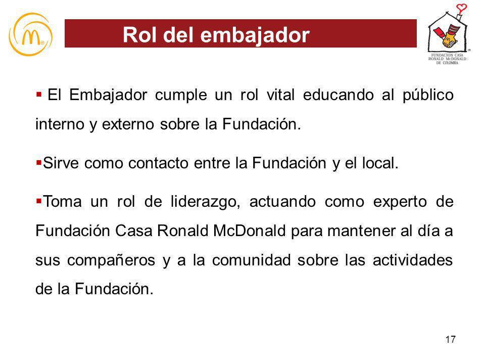 Rol del embajador El Embajador cumple un rol vital educando al público interno y externo sobre la Fundación.