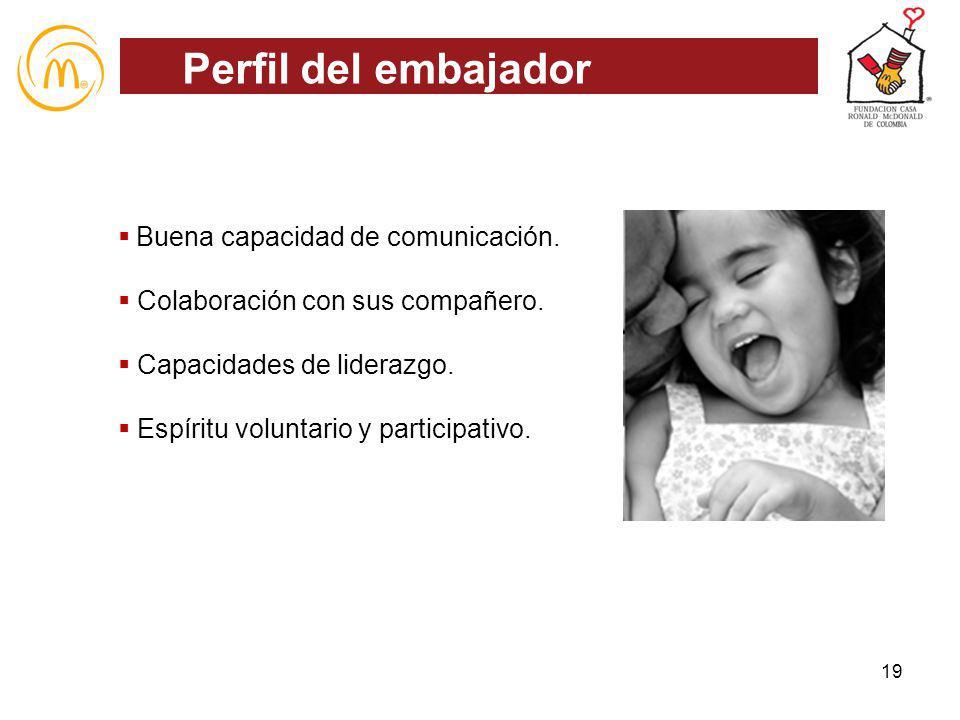 Perfil del embajador Buena capacidad de comunicación.